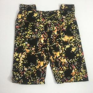 Lularoe One Size Leggings Black and Yellow Floral